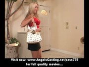 blonde milf with laptop toying pussy and