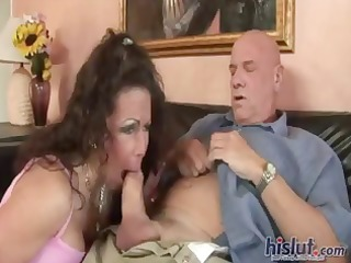 dark brown anjelica takes on an older guys cock