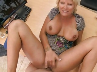 Slutty amateur blonde milf swallows massive hard
