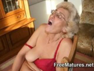grandmom in pantyhose masturbating with sex-toy