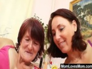 hairy grandma toyed by breasty aged lesbo