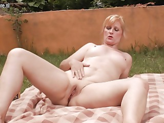 8 old and juvenile lesbos fucks in the garden