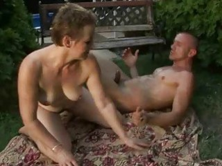 lusty hairy granny enjoying sex with a boy