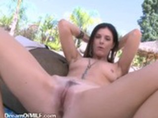 brunette milf takes darksome plug in her booty