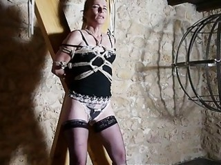 hogtied slavery caning for french mature villein