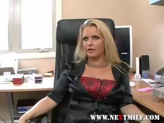 splendid blonde MILF sucking