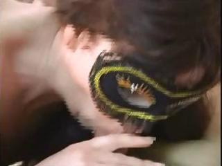 masked spouse and wife duett fuck on camera for