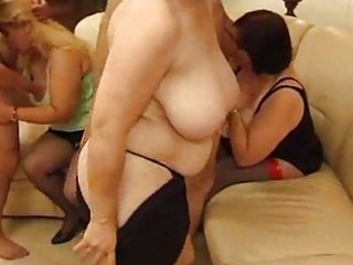 Three drunk mature whores sharing two dicks