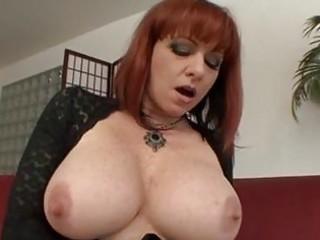 busty mature redhead receives hard boner up her