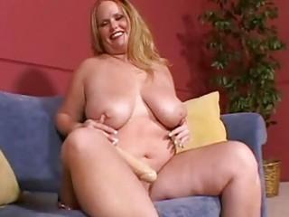 large breasted blond milf masturbates on the