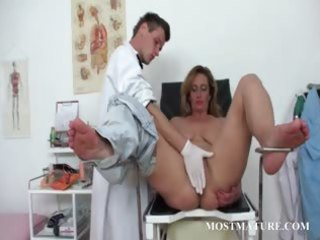 unshaved older pussy vibed at the doctor