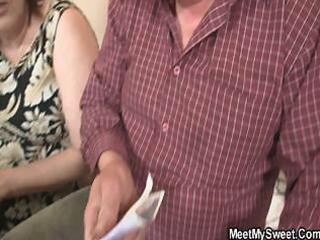 innocent hotty is tempted by granny and fucked by
