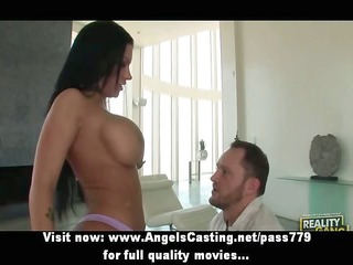 breasty brunette undressing and posing and doing
