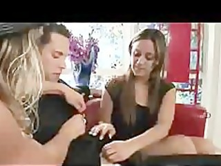mommy makes daughter feel more good with knob