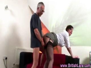 older lad fucks older woman in suspenders and