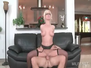 Wild sex on a leather couch with slutty MILF and