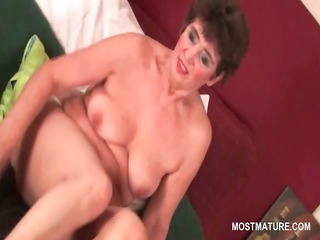 lusty aged playgirl vibing her curly cum-hole to