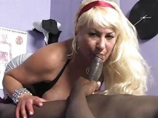 sporty blond momma with big scones sucks dark