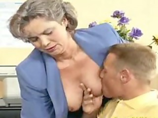 insane old mommy gets cock screwed and office