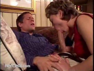 mature broad sucks her dude blowjob