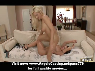 superb outstanding blond and brunette hair lesbo