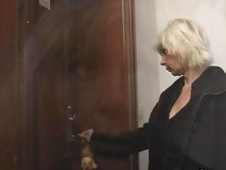 blonde granny allows him drill her twat