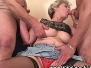 lascivious granny gets a second ramrod to engulf