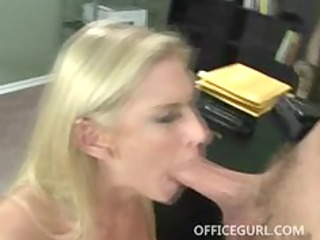 Blonde milf babe with massive tits sucking cock