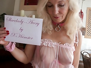 Blond Slavelady Avery is educated for sex slave