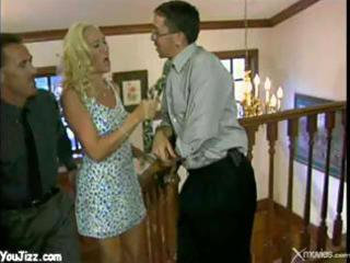 sexy golden-haired wife shared with buddy