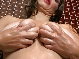 lusty large breasted milf floozy masturbates