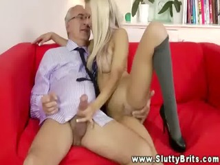 youthful blond spoiling an old chap