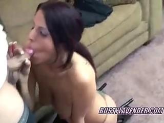slutty brunette wife lavender blows a stranger