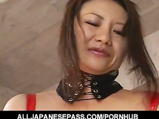 horny japanese d like to fuck in red latex with a