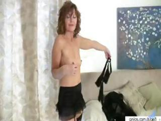 hot older mamma takes off her garments to receive