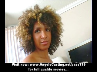 fascinating afro chick undressing and doing