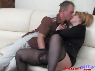 older russian drilled by vibrator and penis
