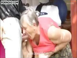 greyhaired granny gets sexually satisfied!