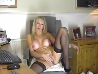hawt mom in stockings showing her wet crack