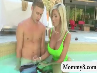 Busty stepmom seduces a younger dude and caught