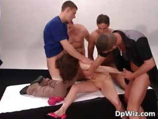 brunette hair d like to fuck has four hard dongs