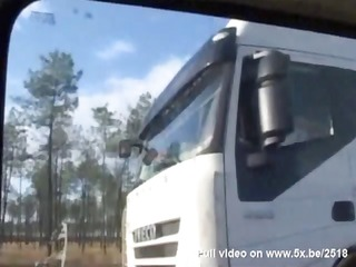sophie fucked in pantyhose by truck drivers