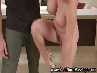 sexy breasty sweetheart lathers up