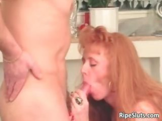 slutty mature redhead receives that is soaked