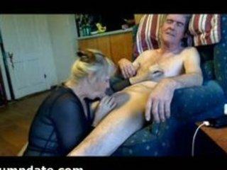 aged sweetheart sucks hubbys jock and eats his