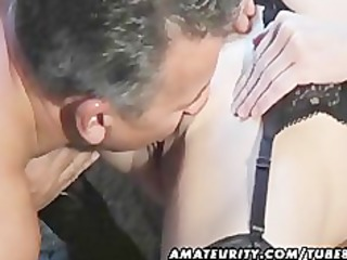 Hot amateur Milf sucks and fucks with cumshot on