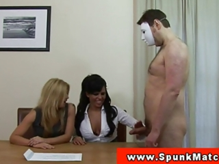 cfnm office milfs demanding cum on desk