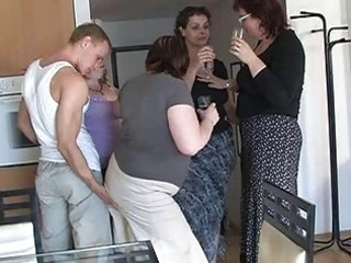 four slutty moms tempted cute boy to coll group