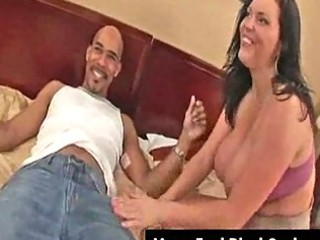 Big boobs milf angelica gets facial from black
