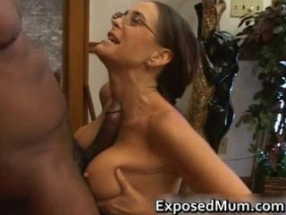 Hot milf in glasses deepthroating black part5